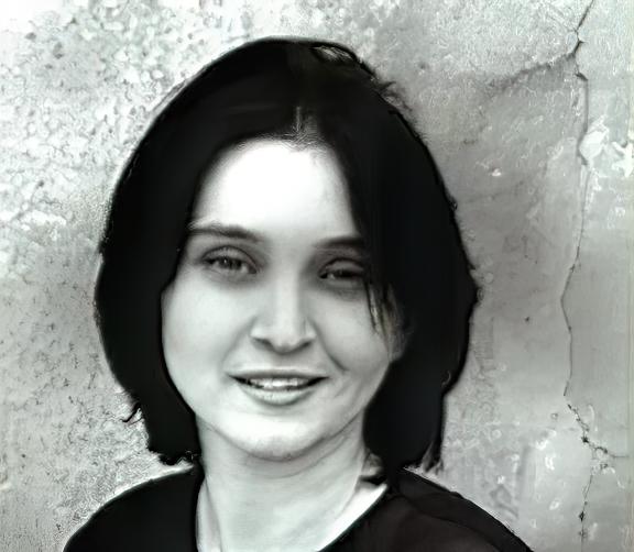 Primo piano in bianco e nero di Michela Rebua