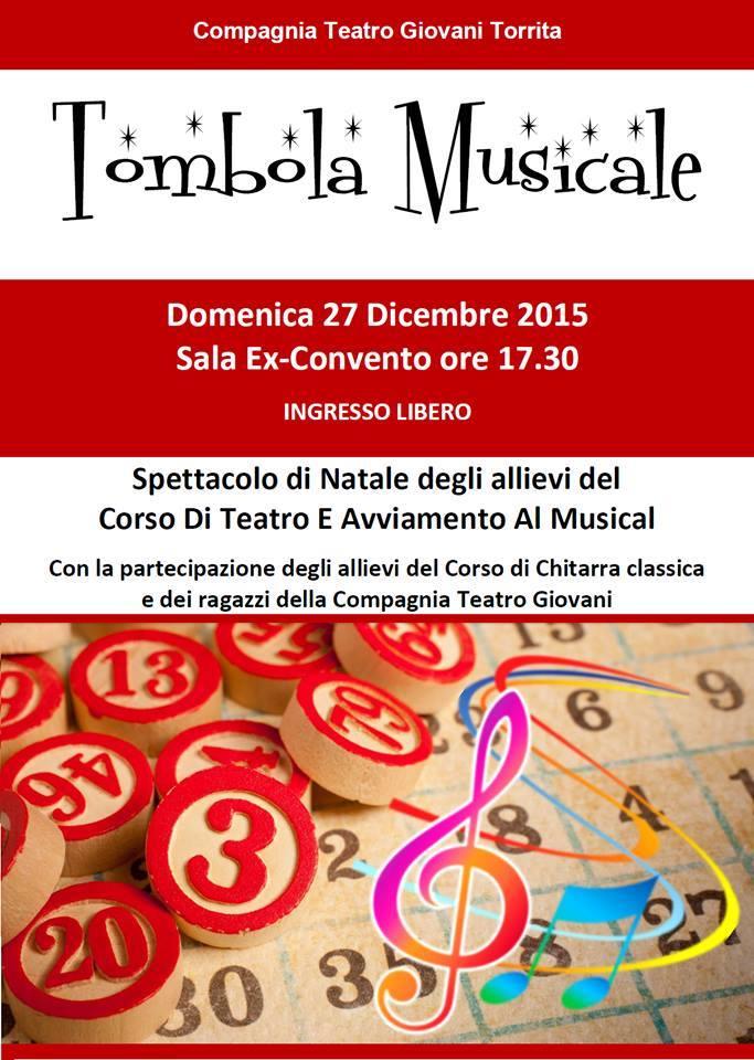 manifesto della tombola musicale in occasione delle festività natalizie del 2015
